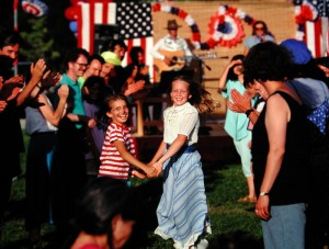 Contra dance at Ananda Village, Independence Day, early 1980s.