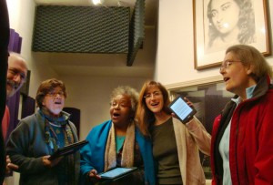 "Sopranos and altos from the Palo Alto ""Nightingales"" i-Rehearse with their tablets. L-R: Santosh, Sharmila, Saranya, Karen, Betsy."
