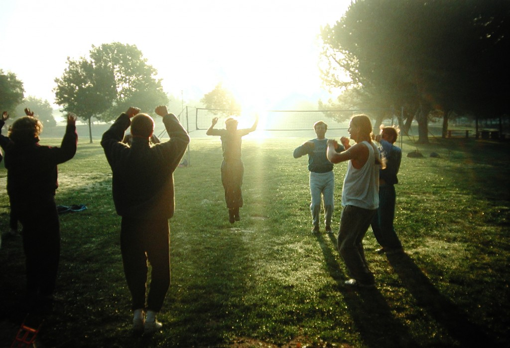 """Early morning rechargers before a fundraising """"Joyathon"""" for the Living Wisdom School at Ananda Village, early 1990s."""