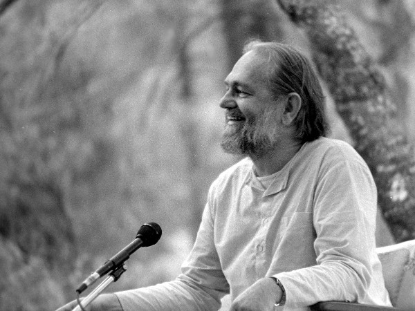 Here's an early photo of Swamiji giving a talk during Spiritual Renewal Week in the Temple of Leaves, Ananda Seclusion Retreat, probably 1975.
