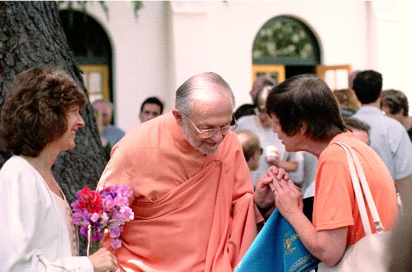Swami was always one-hundred percent focused on the person he was talking with. I never saw him, through the lens or at any other time, when he wasn't completely self-offered to God.